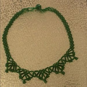 Green beaded choker necklace